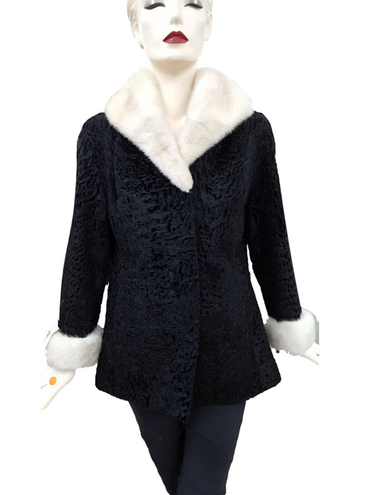 NEW Broadtail Lamb Jacket with Azurene Mink Fur