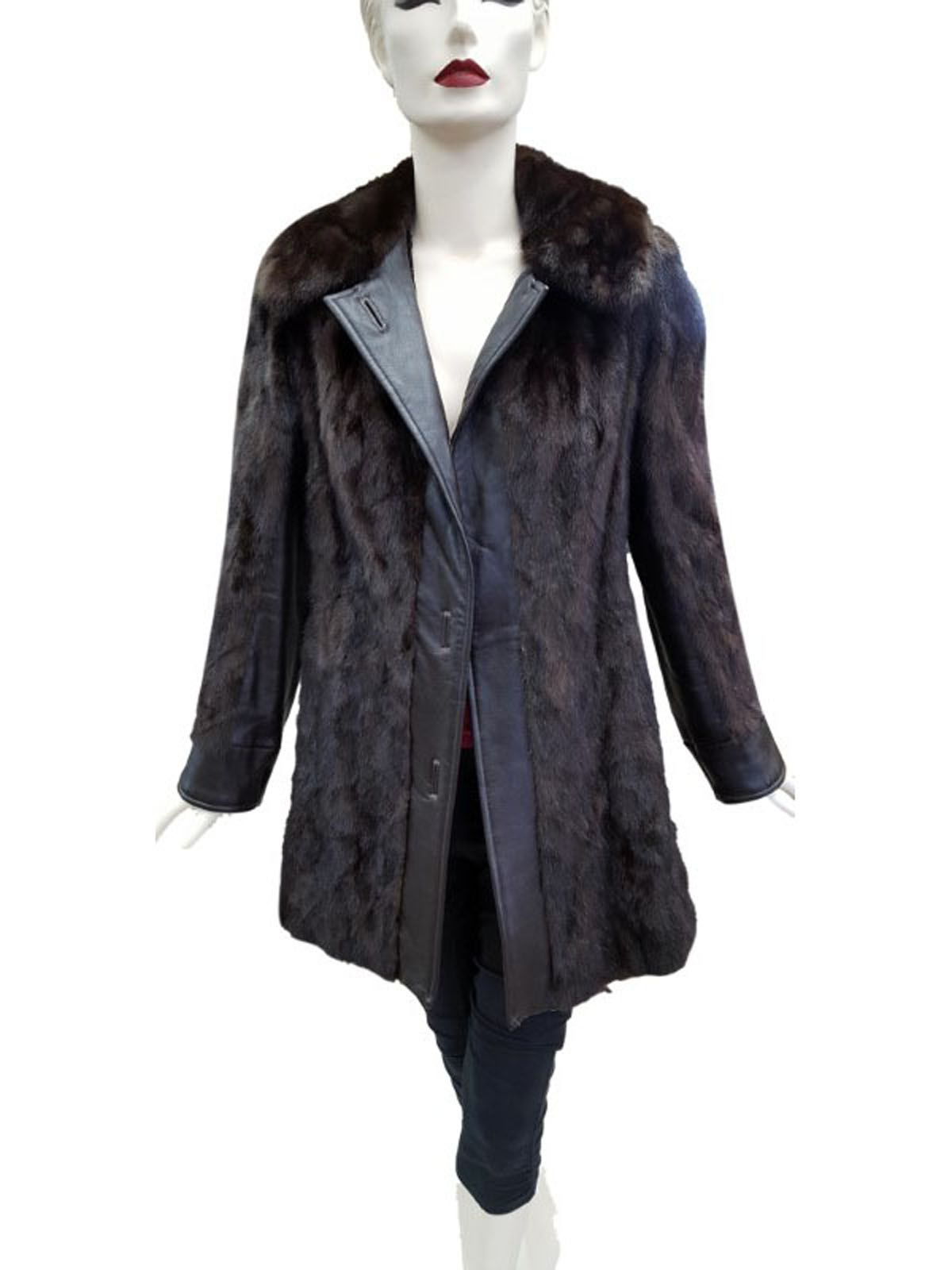 NEW Mahogany Mink Sides Jacket with Leather Trim