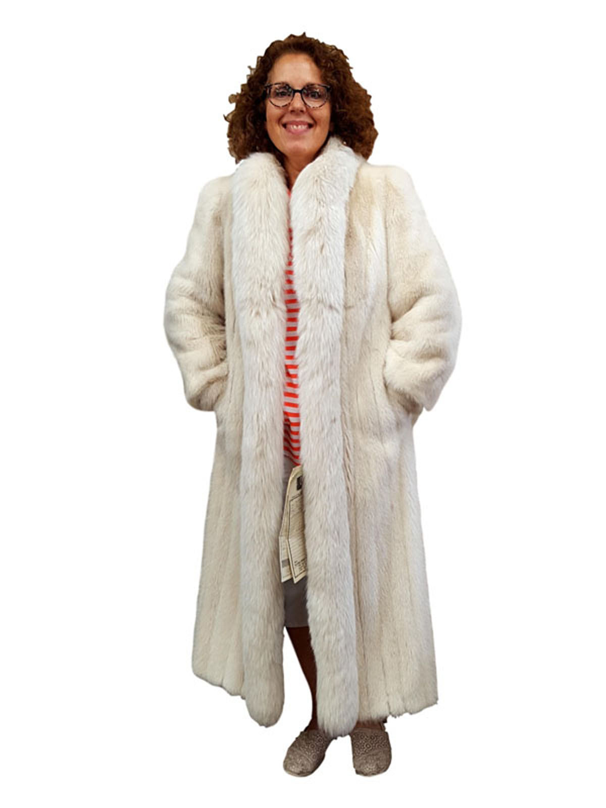 Frosted Mink Coat with Fox Tuxedo Front
