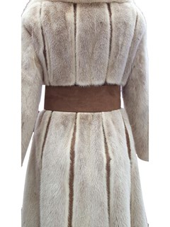 Frosted Mink Coat with Suede And Belt