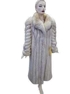 Blue Fox Corded Coat with Diagonal Sleeve Design