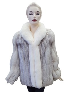SAGA Furs Blue Fox with Shadow Fox Tuxedo Trim Jacket