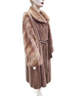 NEW Autumn Haze Mink Coat with Leather Belt