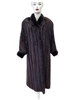 Long Hair Beaver Coat with Sheared Beaver Trim and Matching Headband