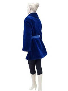 Blue Sheared Rex Rabbit Jacket with Belt
