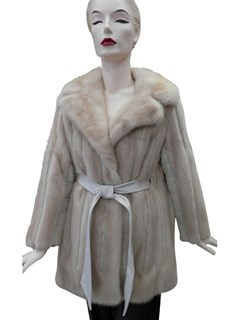 Tourmaline Mink and Leather Jacket With Belt