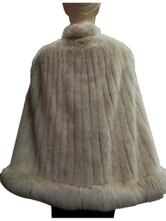 NEW Golden Frost Mink Cape with Fox Trim