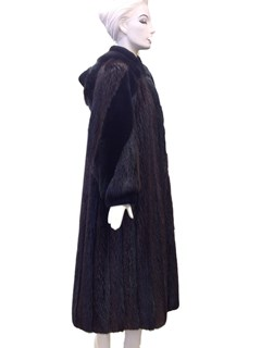 Long Hair Beaver Coat with Detachable Hood