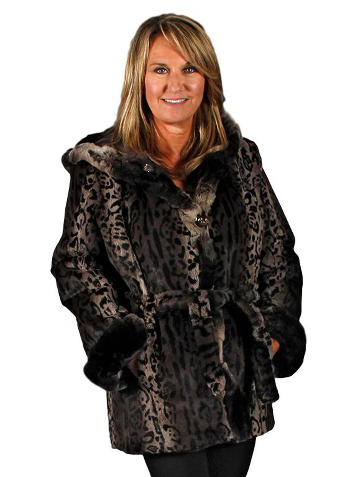NEW Reversible Animal Print Rex Rabbit Parka