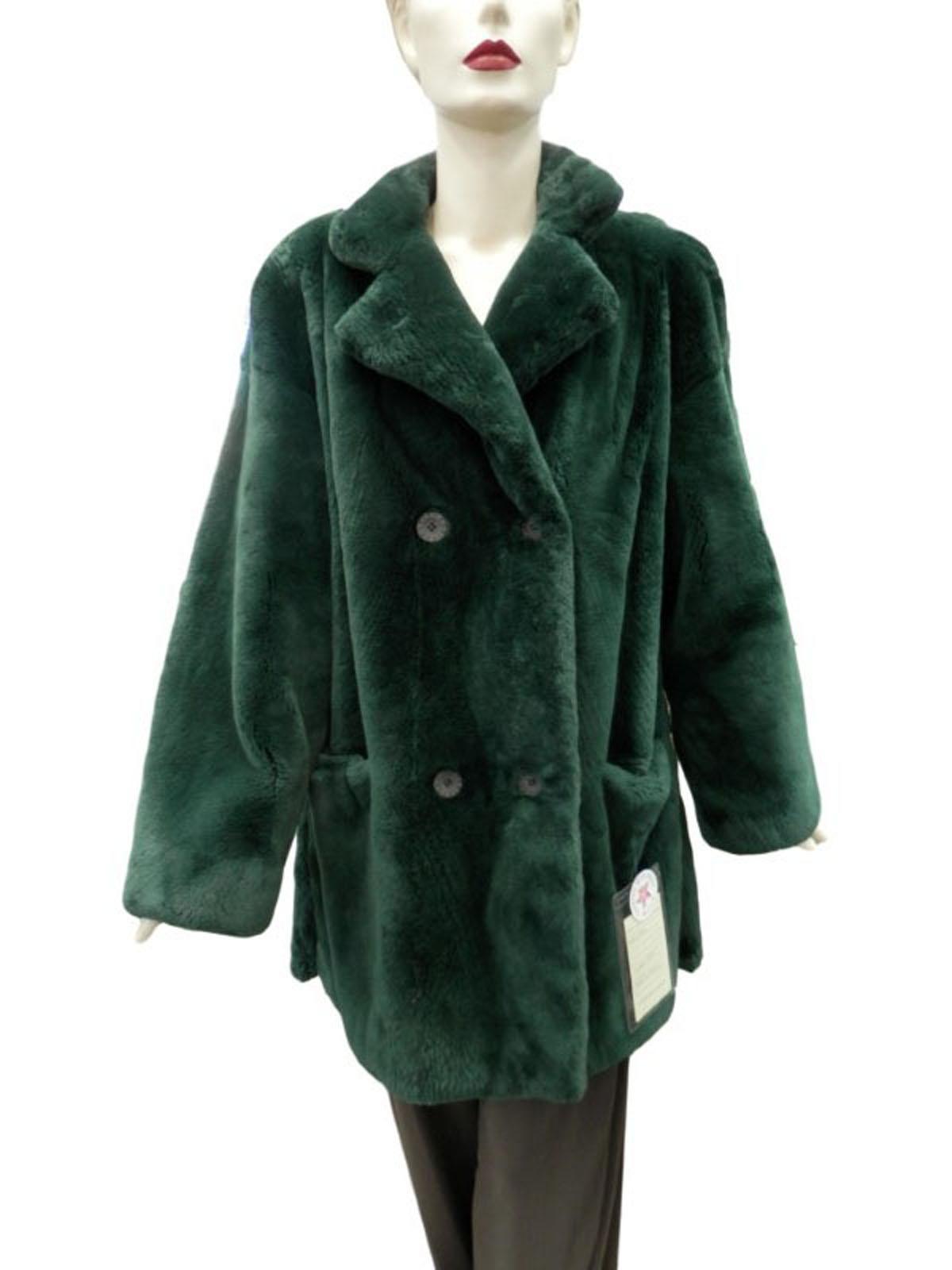 NEW Bisang Green Sheared Beaver Coat
