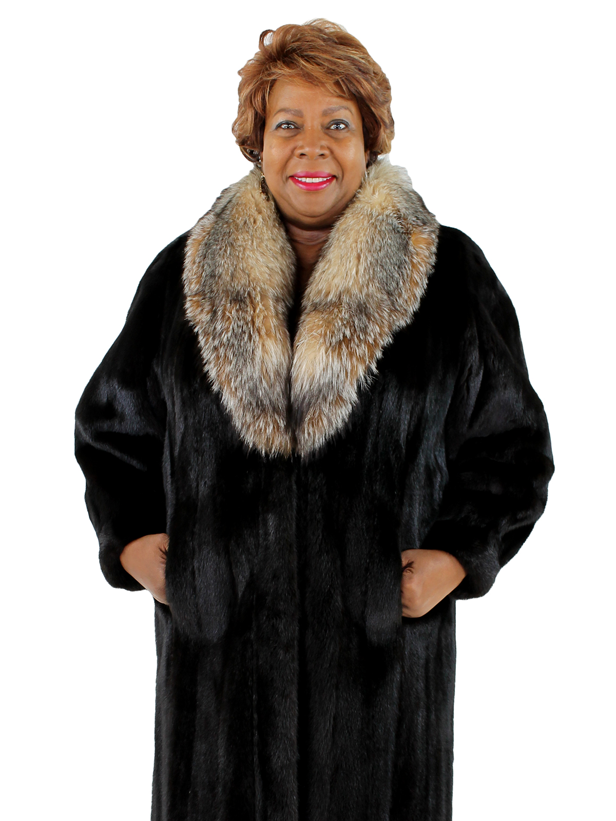 Woman's Ranch Mink Fur Coat with Crystal Fox Collar
