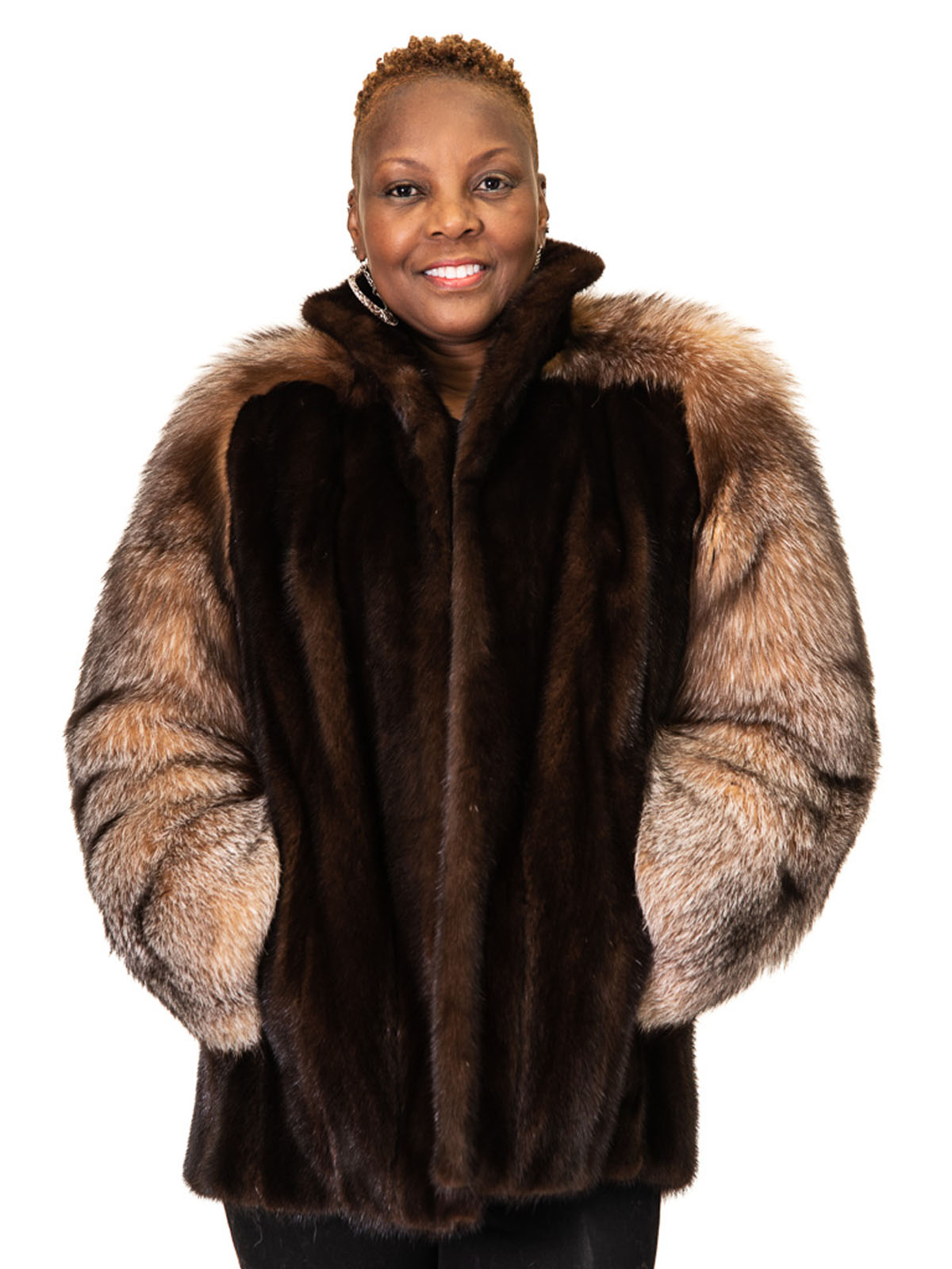 NEW Lunaraine Mink Jacket with Crystal Fox Sleeves