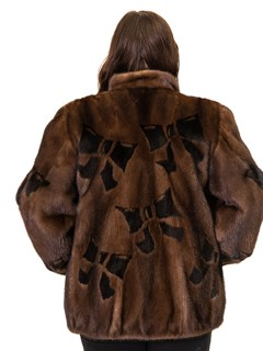 Mink Zip Jacket with Bow Design