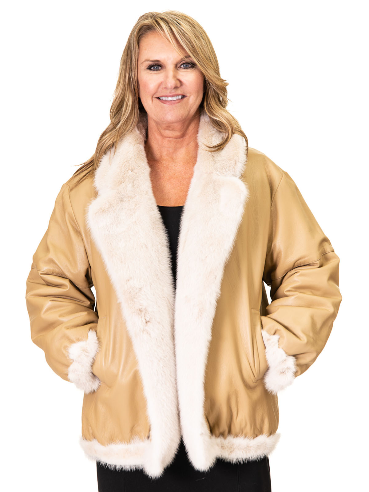 NEW Reversible Golden Frost Mink to Cabretta Lamb Leather Jacket