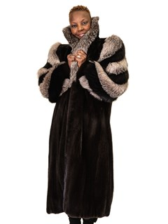 NEW Mink Petite Coat with Indigo Fox Collar and Sleeve Design