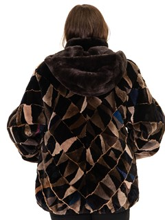NEW Multicolor Sheared Beaver Sections Parka
