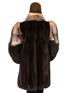 Mink Jacket with Fox Sleeves and Tuxedo Front
