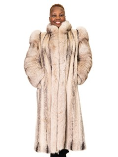 Tan-Glow Black Cross Kohinoor Letout Mink Coat with Fox Sleeves and Tuxedo Front