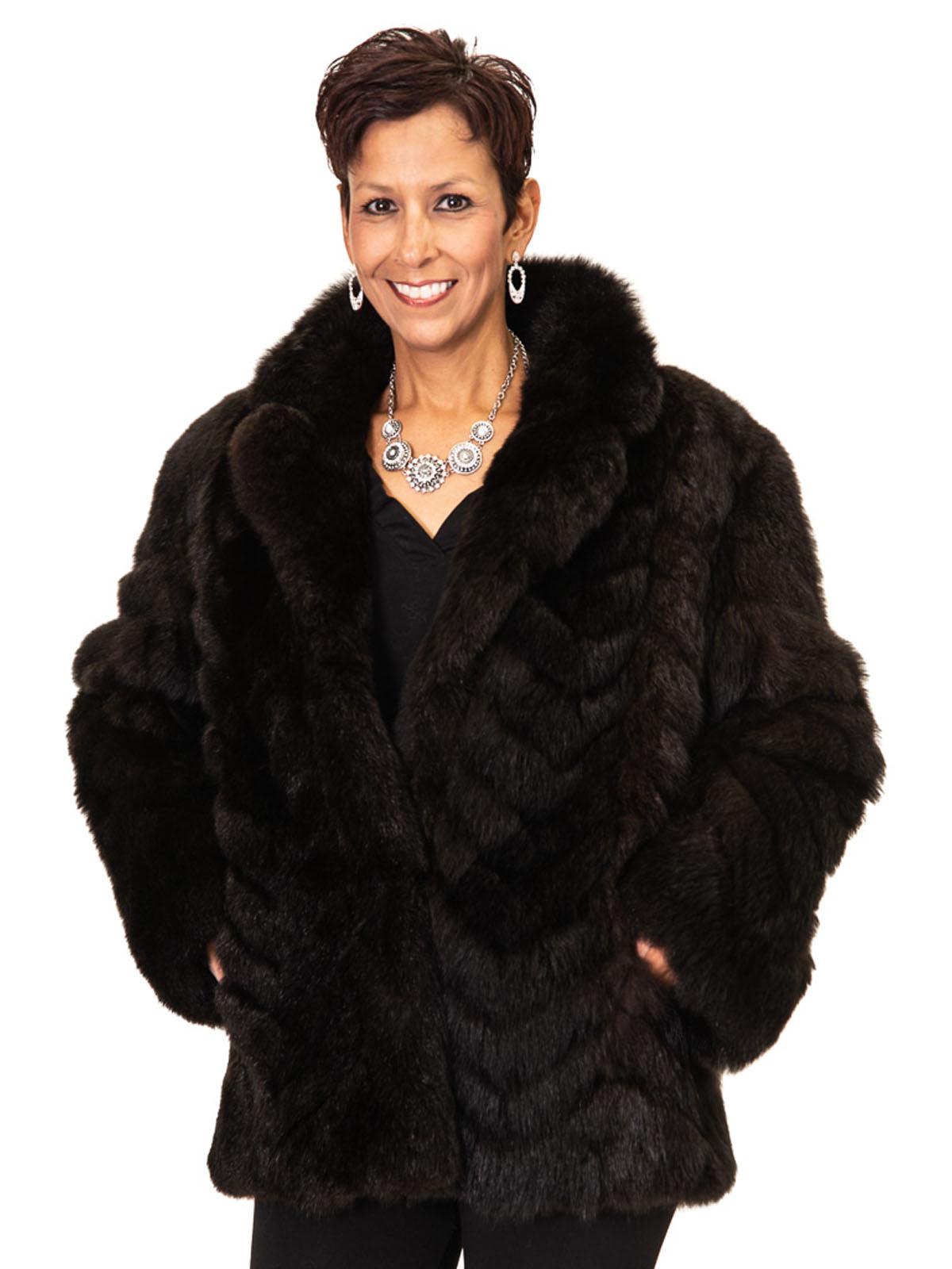 NEW Natural Dark Brown Opossum Chevron Design Jacket