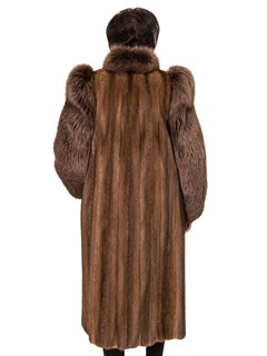 NEW Natural Demi Buff Split Mink Coat with Brown Fox Tuxedo Front and Sleeves