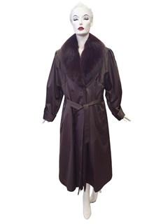 Taffeta Silk Raincoat with Sheared Opossum Liner and Fox Collar