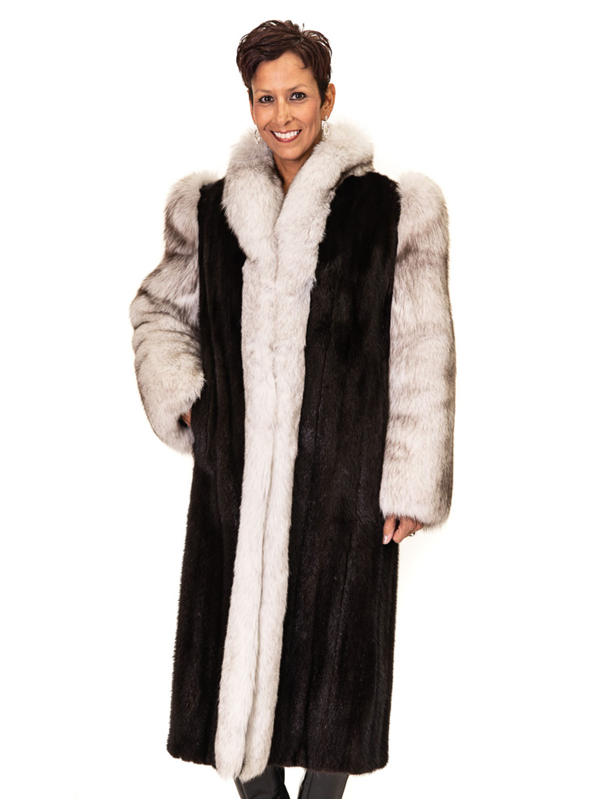 NEW Ranch Mink Coat with Blue Fox Tuxedo Front and Sleeves