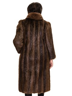 Hazel Letout Long Hair Beaver Coat with Brown Fox Tuxedo Front