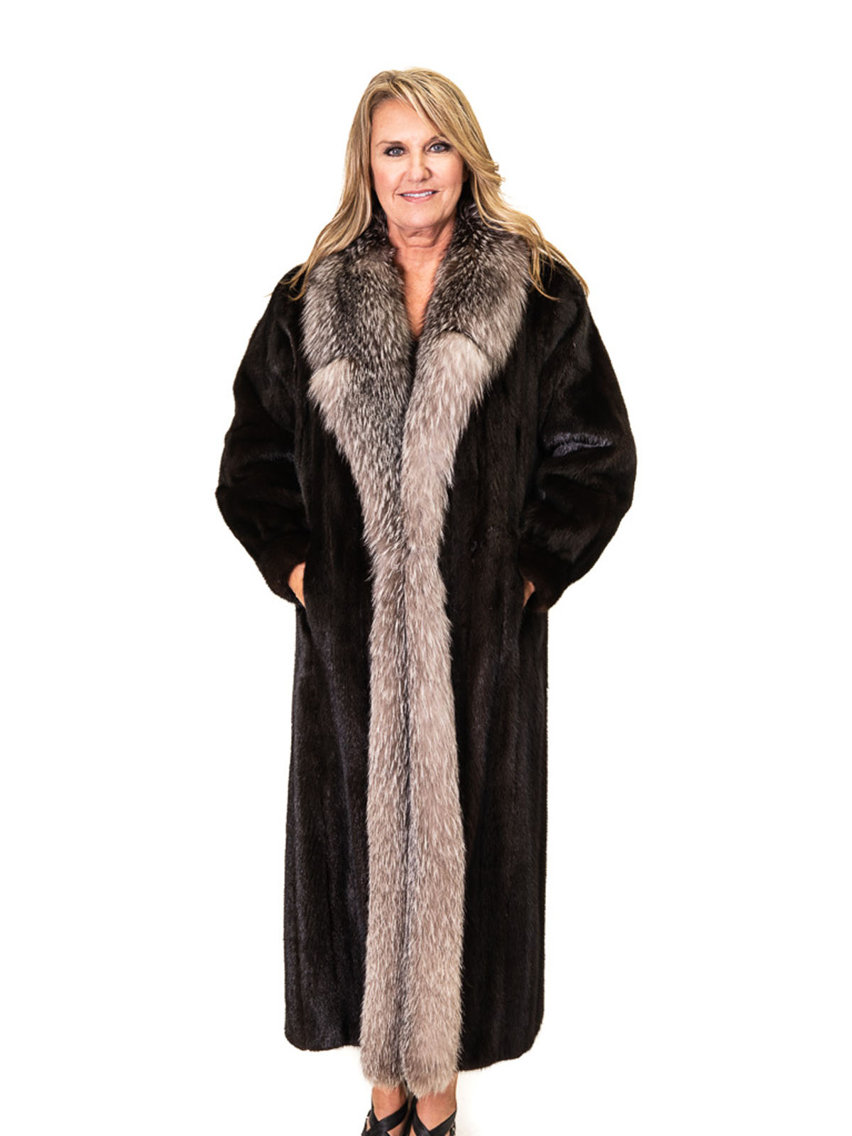 Natural Ranch Letout Mink Coat with Indigo Silver Fox Tuxedo Trim
