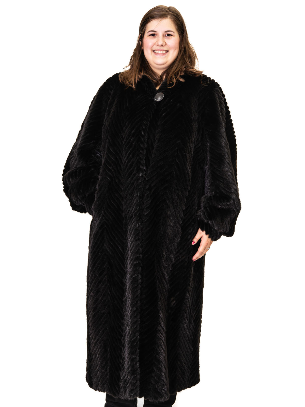 Black Mink Tails Chevron Design Coat