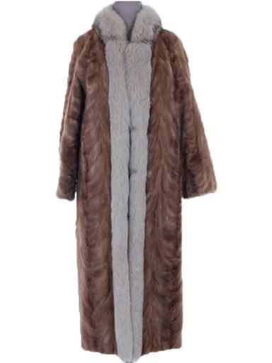 Pastel Mink Fur Section Coat w/ Fox Tuxedo
