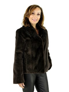 NEW Woman's Sheared Mink Fur Jacket with Fox Collar