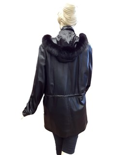 NEW Lamb Leather Anorak with Fox Trimmed Hood and Thermolite Liner