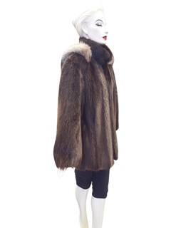 Long Hair Beaver Zip Jacket with Detachable Hood Trimmed with Crystal Fox