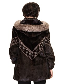 Ranch Mink Zip Parka With Checkerboard Design and Fox Trim
