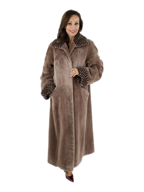 Woman's Tan Sheared Beaver Fur Coat