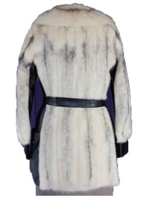 Natural Cross Mink Fur & Black Leather Jacket