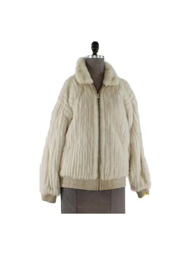 Reversible Tourmaline Cord Cut Mink Fur Jacket