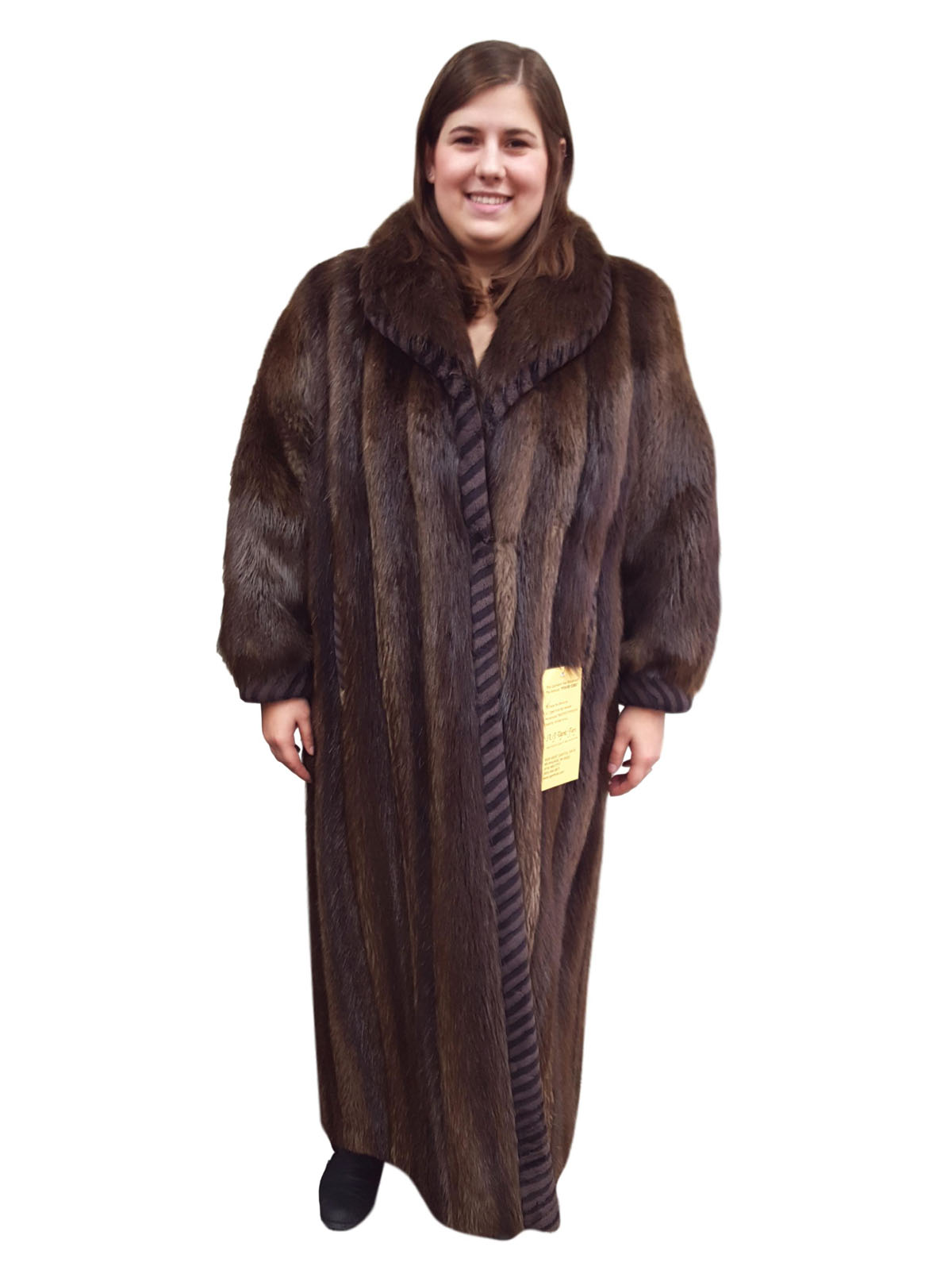Long Hair Beaver Coat With Sheaved Beaver Trim