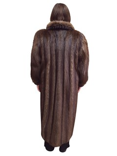 Long Hair Beaver Coat With Sheaved Beaver Trim