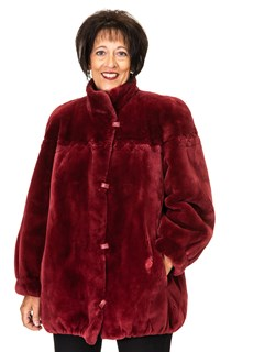 NEW Raspberry Sheared Beaver Jacket