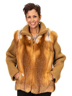 NEW Red Fox Jacket with Knit Sleeves