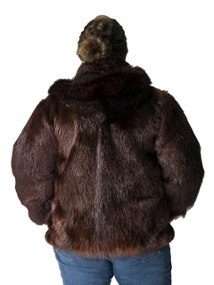 NEW Copper Long Hair Beaver Jacket with Fox Trimmed Hood