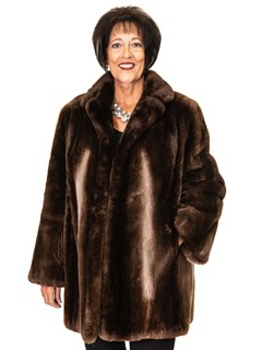 NEW Sheared Beaver Coat with Ombre Design