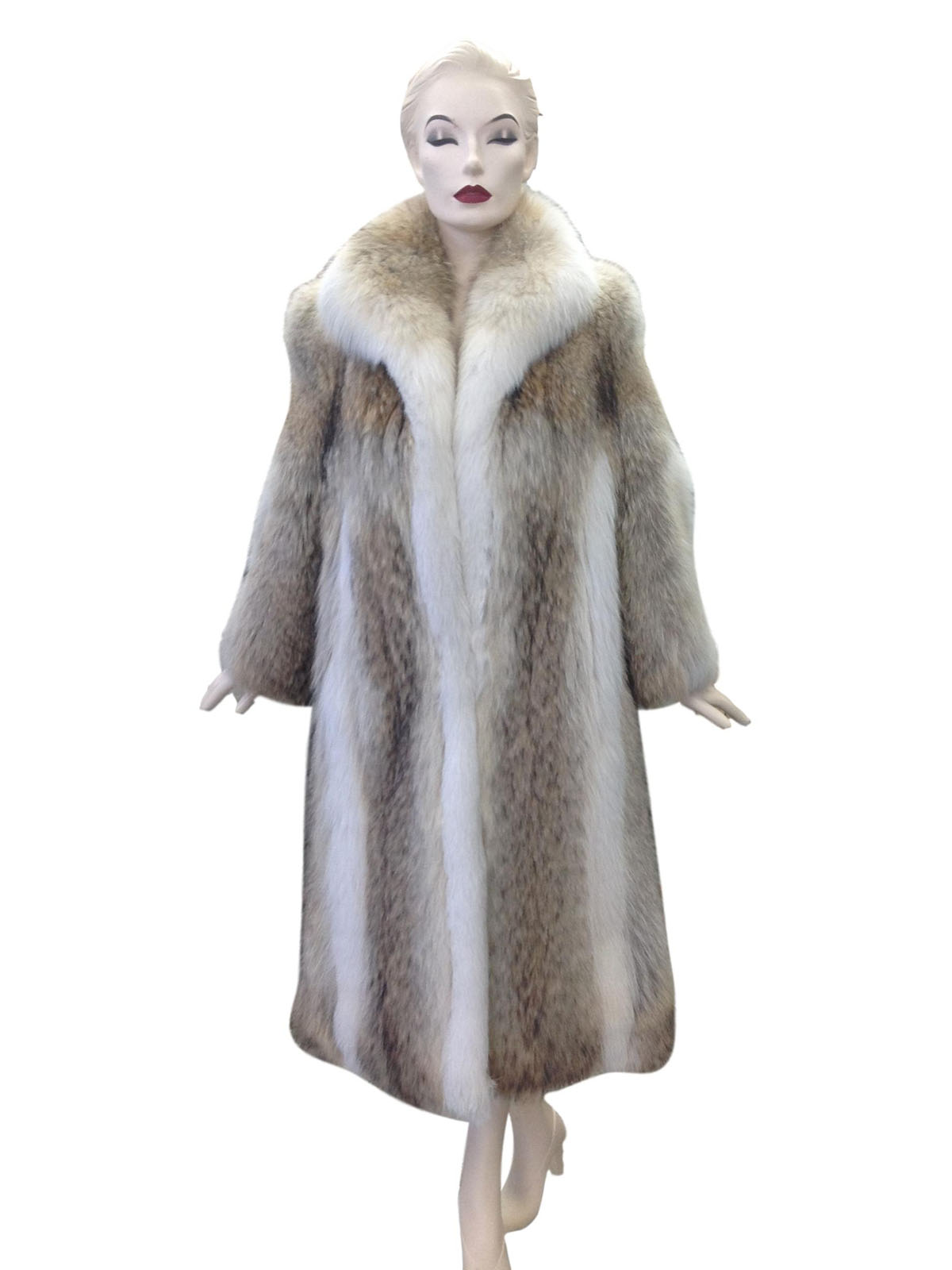 Petite Natural Coyote Coat with Fox Trim