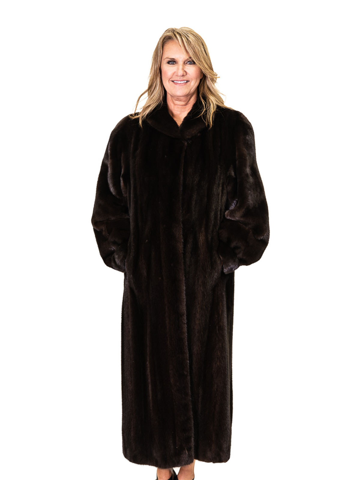 Ranch Mink Coat with Diagonal Sleeve Design