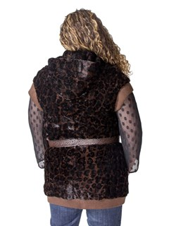 NEW Sheared Mink Animal Print Hooded Vest