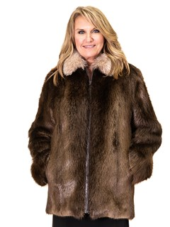 NEW Long Hair Beaver Zip Jacket with Crystal Fox Collar