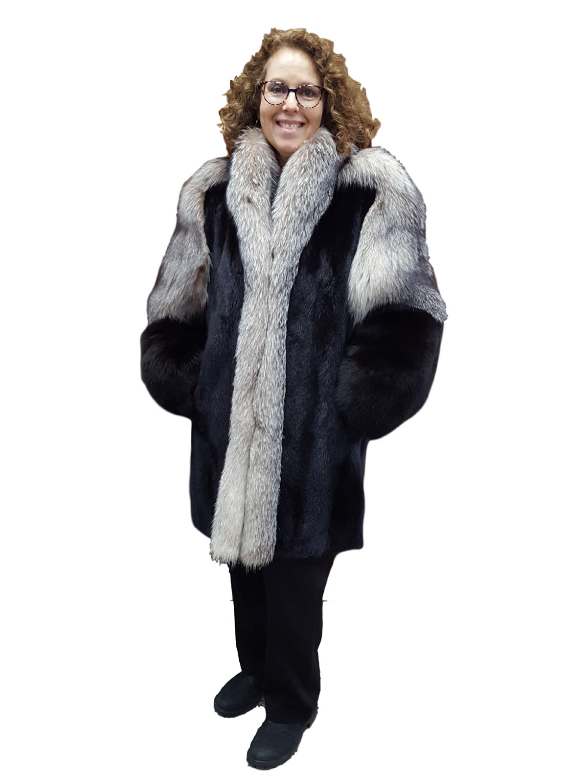 Mink Jacket With Fox Sleeves And Tuxedo Front Milwaukee