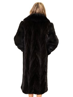 Chevron Mink Tails Coat with Fox Collar and Sleeves