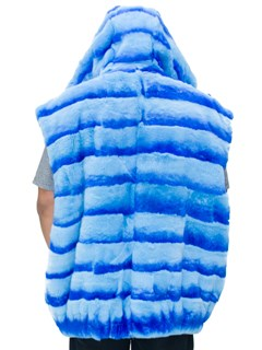 NEW Man's Light Blue Rex Rabbit Vest with Hood